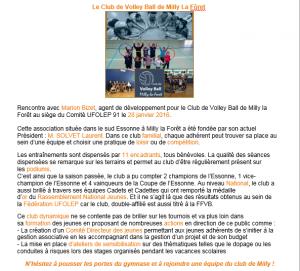 Article Ufolep Essonne Février 2016
